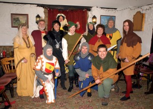 Actors in costume for the pantomime, Robin of Bernwood